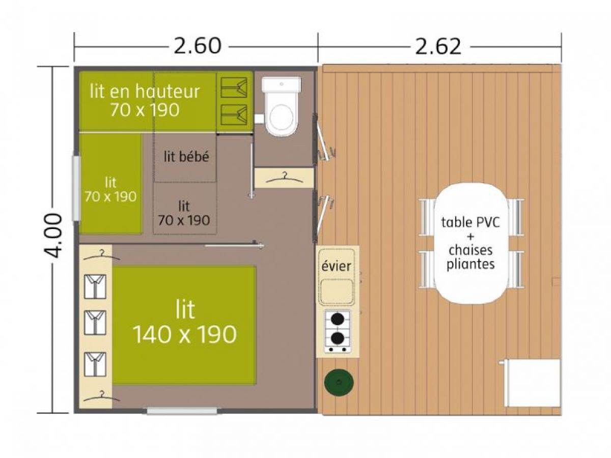 Voici le plan du bungalow toilé