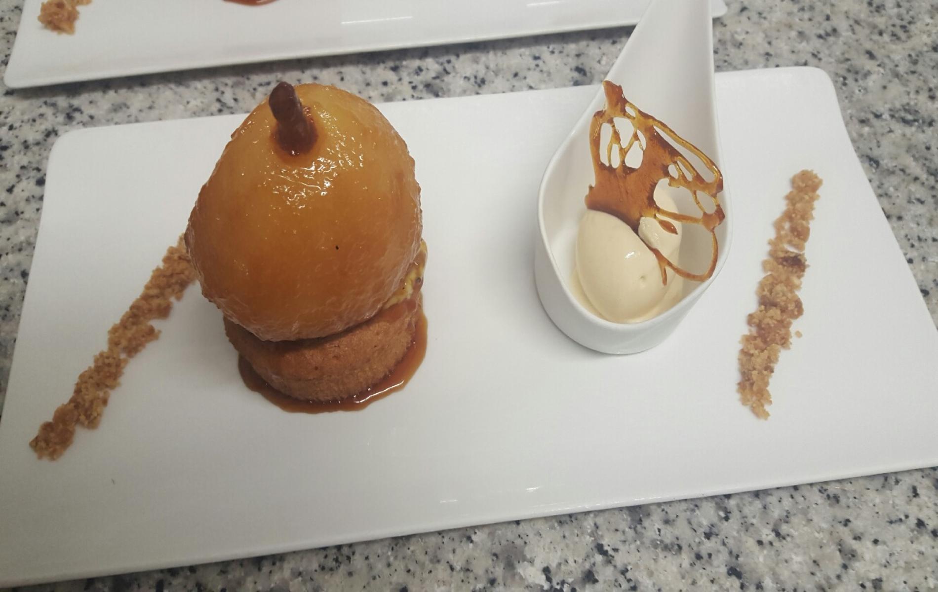 gâteau Nantais poire Angelys rôtie glace caramel beurre salé