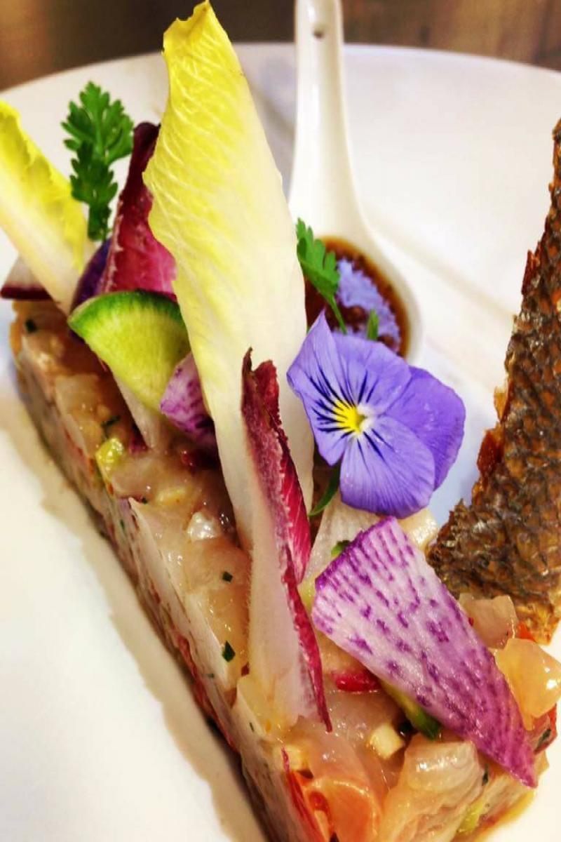 Tartare de daurade au raifort, salade d'hiver