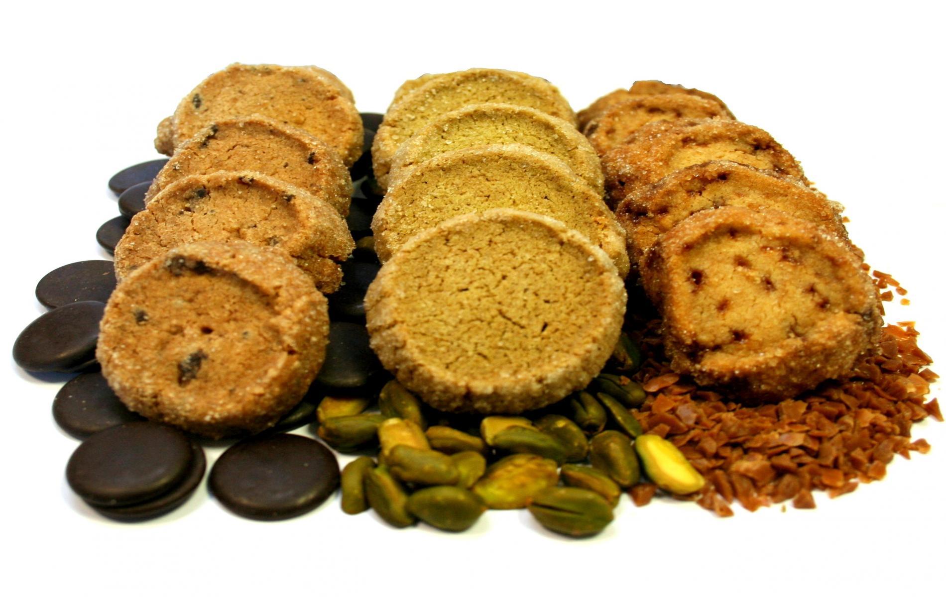 Sablés aux éclats de Caramel Beurre Salé, à la Pistache ou aux Pépites de Chocolat