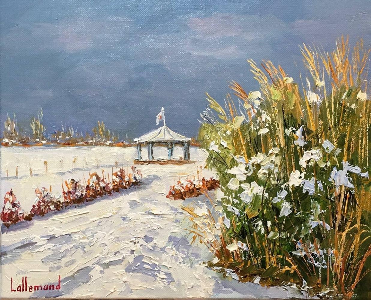 Jardin des personnalités sous la neige