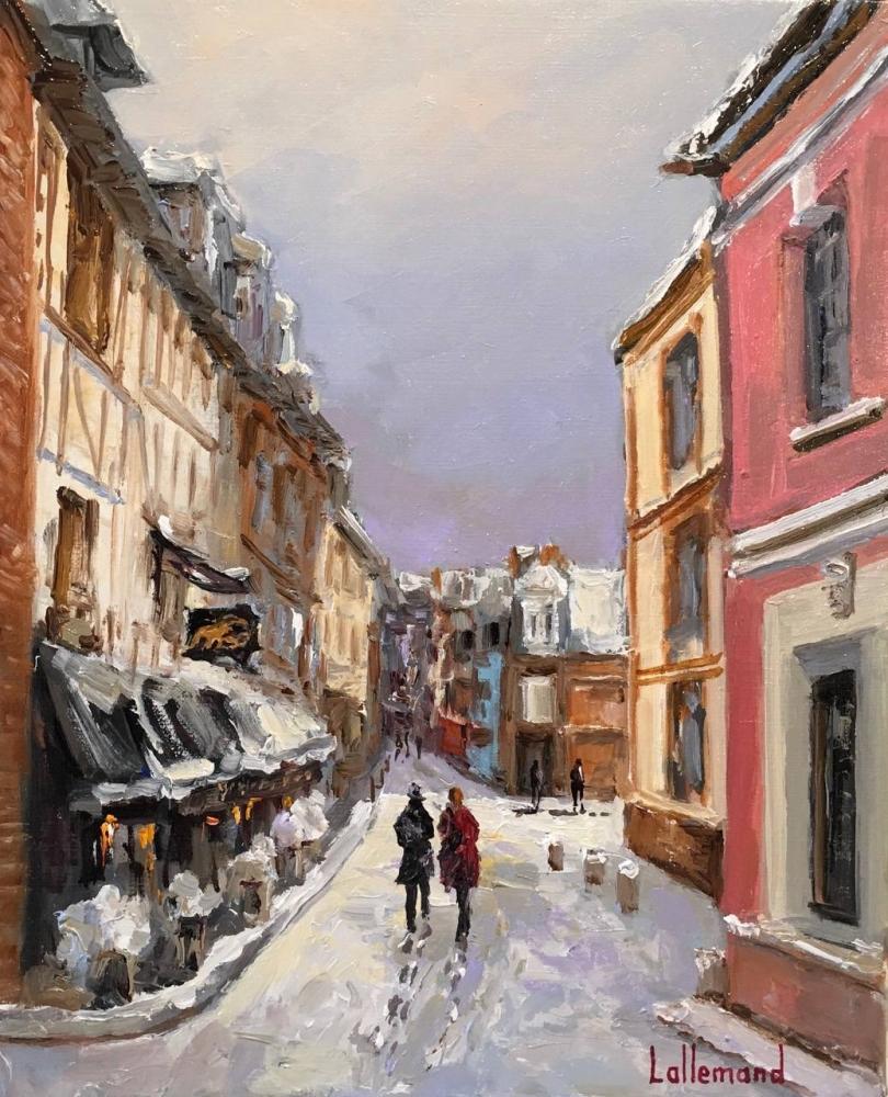 Rue de l' Homme de Bois sous la neige