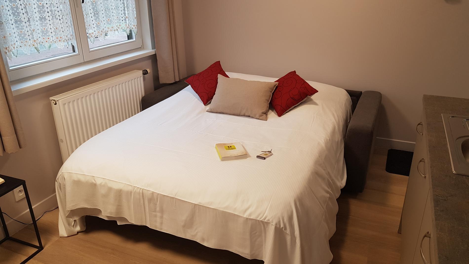 Canapé-lit converti en lit