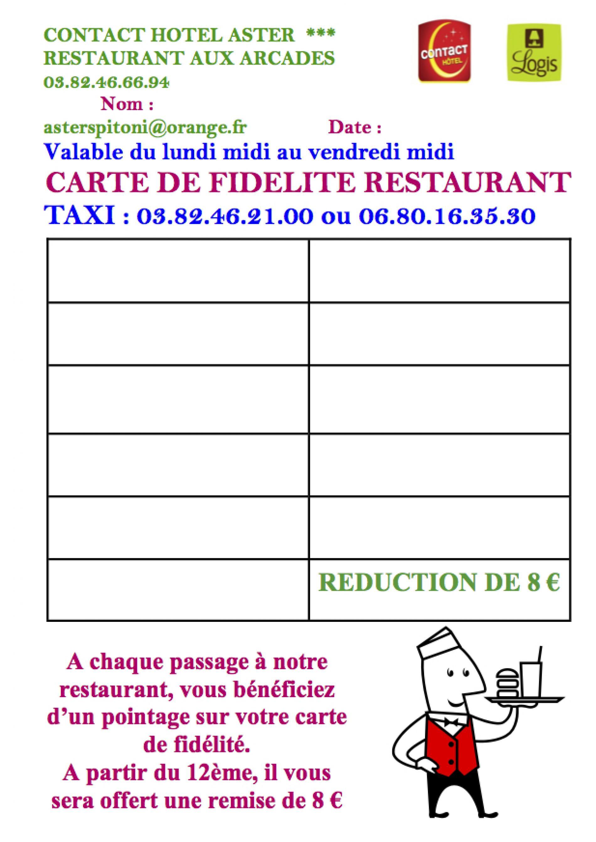 Carte de fidélité - Restaurant aux Arcades