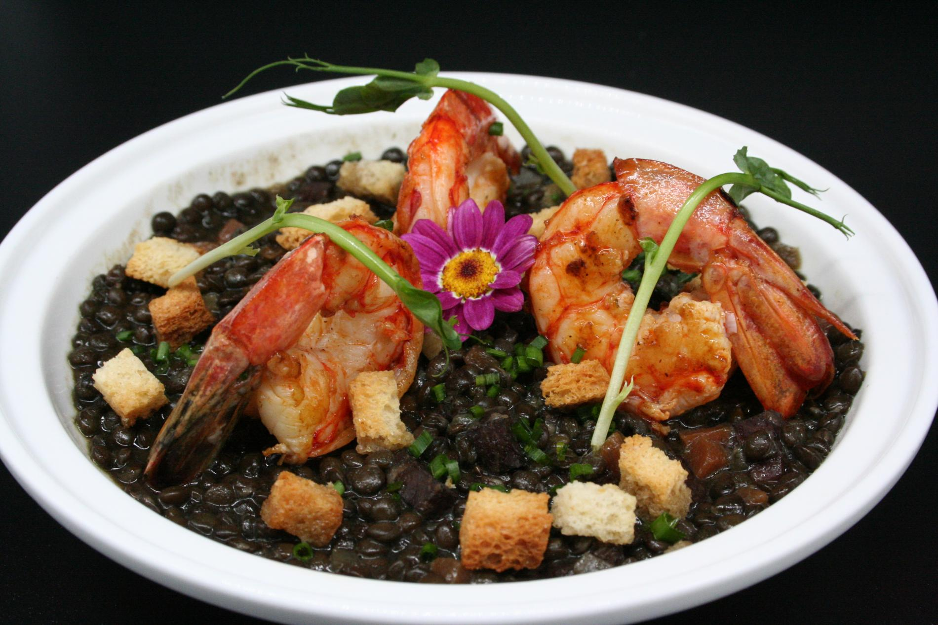 Prawns and organic lentils from the Perche