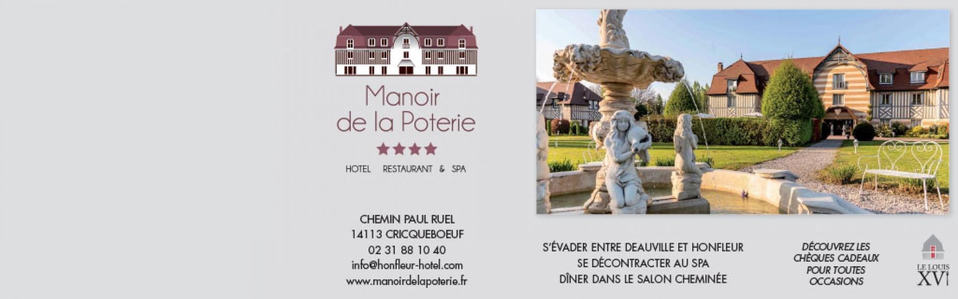 Hotel proche Honfleur l'hotel Le Manoir de la Poterie vous accueille en Normandie pour un séjour détente. Doté d'un spa et d'une piscine couverte, l'hotel vous propose des soins.