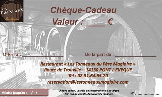 cheque-cadeau restaurant Les Tonneaux du Père Magloire à pont l'évâque en Normandie