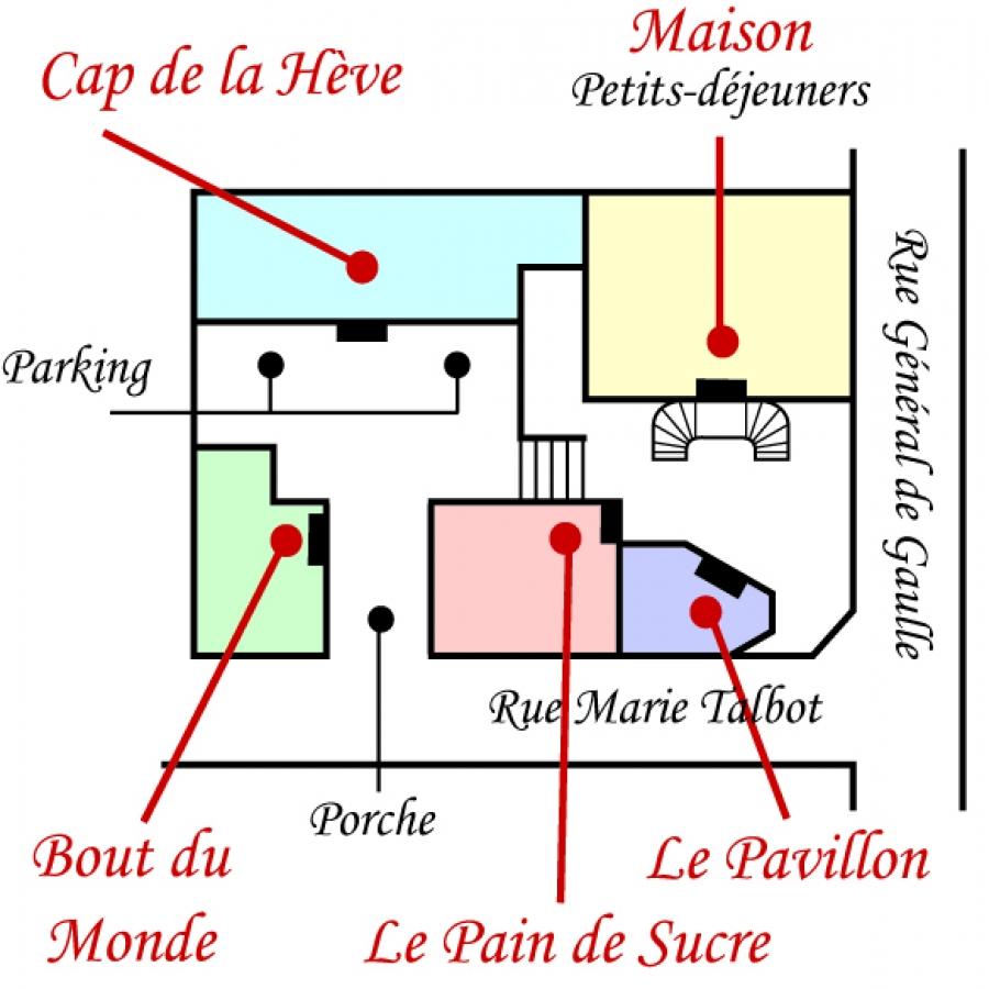 Plan Hotel de charme Les Phares le Havre plage