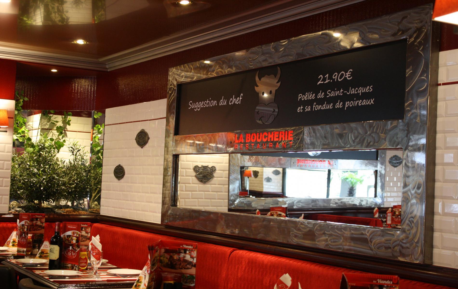Cadre miroir / porte menus - Restaurant La boucherie à Caen