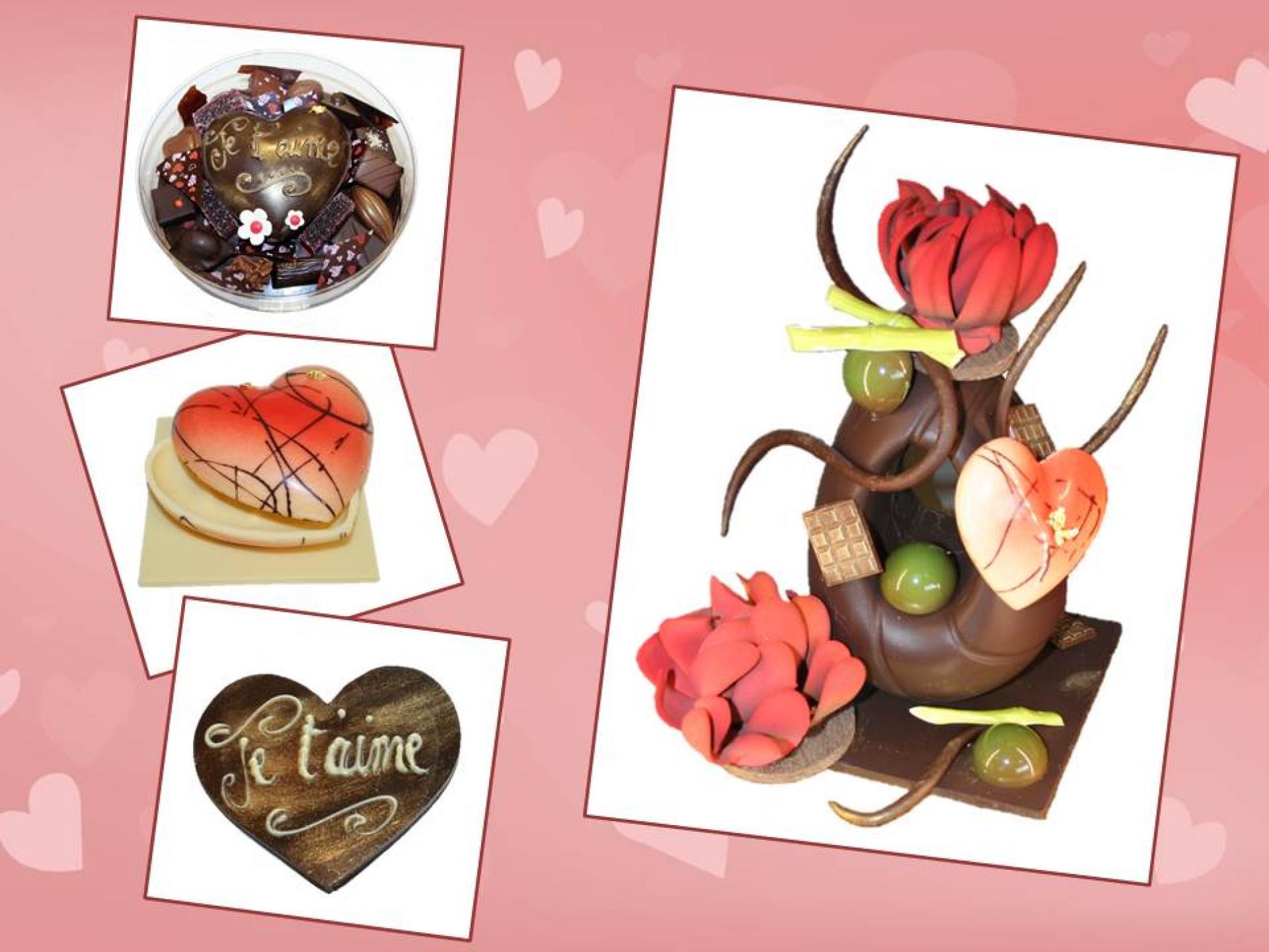 Faites vous plaisir pour la Saint Valentin avec nos délicieux chocolats. Et pour impressionner votre amoureux(se), offrez-lui une jolie pièce en chocolat très gourmande !