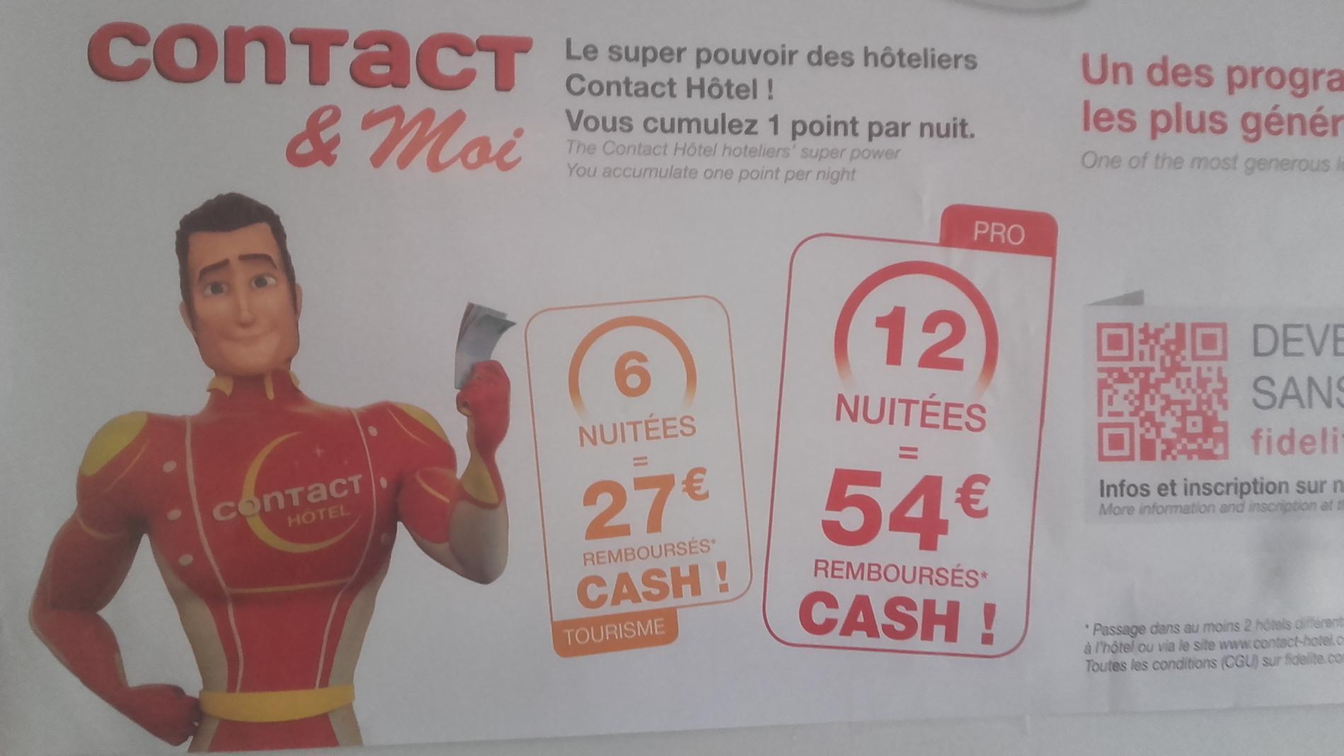 Notre programme de Fidélité Contact Hotel, le plus généreux de France, valable uniquement pour les réservations directes