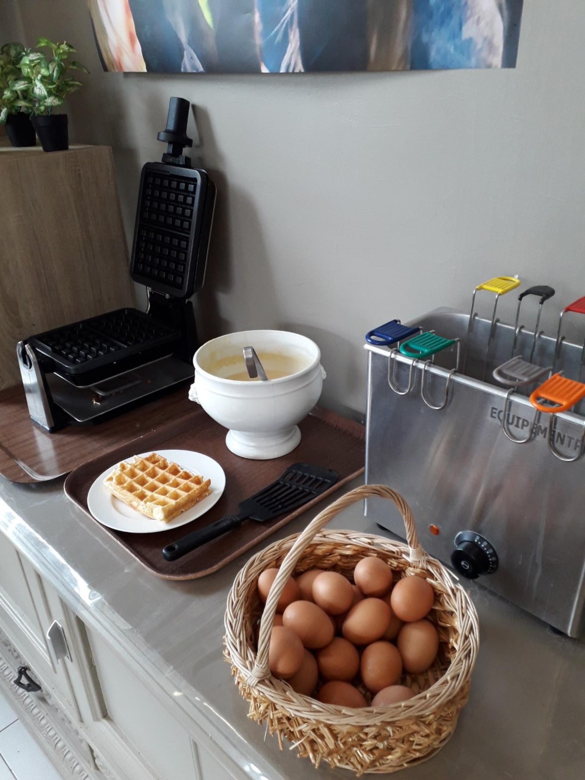Gaufres et œufs frais