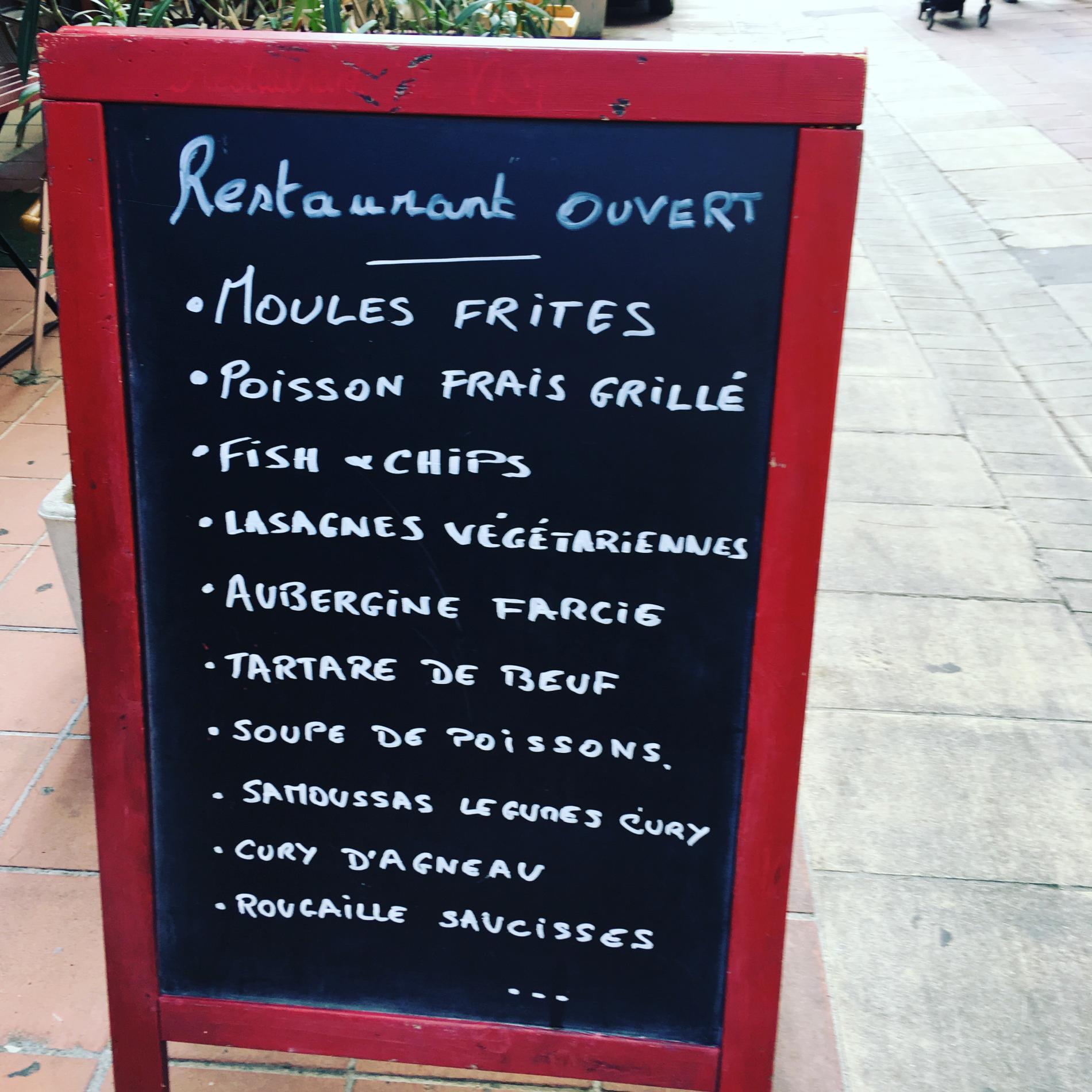 Tableaux menu hôtel