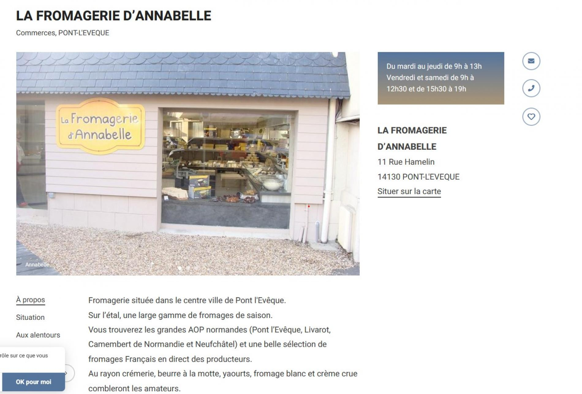 Fromagerie   Annabelle  Pont  l'évéque